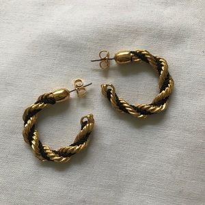 Vintage Avon Hoop Earrings Gold and Black Hoops